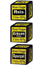 Reklamemarke, Knorr Suppe Reis 3 Teller 10 Pfg., Knorr Suppe Erbsen 3 Teller 10 Pfg., Knorr Suppe Spargel 3 Teller 10 Pfg.