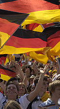 Fußballfans der deutschen Nationalmannschaft, Stuttgart, Baden-Württemberg, Deutschland