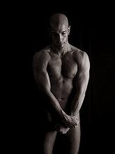 Mann, muskulös, nackt, Körper, glatzköpfig