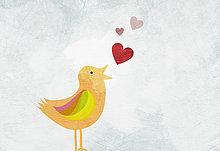 Ein Vogel tweeting Love hearts