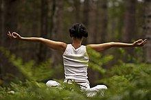 Frau ,Wald ,Yoga