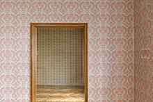 Raum mit alter Tapete, alte Tapete aus den sechziger Jahren, Stuttgart, Baden-Württemberg, Deutschland, Europa