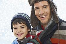Portrait ,Winter ,Menschlicher Vater ,Sohn ,Kleidung