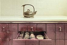Teekanne,Tasse,Küche,chinesisch,Schrank,Tonstein,China,voll