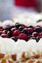 Nahaufnahme von frischem Kuchen mit Heidelbeer- und Himbeer-Topping