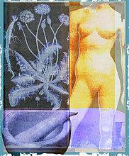 Collage mit nackter Frau, Pflanze, Mörser und Stößel