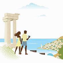 Landschaftlich schön,landschaftlich reizvoll,nebeneinander,neben,Seite an Seite,Fotografie,nehmen,Ruine,Ansicht,antik,Bucht