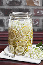 Weiße Holunderblüten und Zitrone in Glasschale, essbare Blüten, Europäischer Schwarzer Holunder (Sambucus nigra), Herstellung von Holunder-Sirup