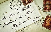 hoch,oben,nahe,Retro,Briefumschlag,Briefmarke
