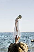 stehend,Frau,Meer
