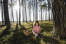 Mädchen sammelt Pilze in einem Kiefernwald