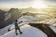 Berg,sehen,Wolke,Ansicht,jung,Bergwanderer,Bayerische Alpen