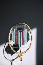 Badmintonschläger mit Herz bestickt