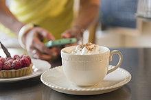 Handy,benutzen,Europäer,Frau,Cafe