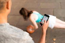 schieben,über,Läufer,Ansicht,Smartphone,timing