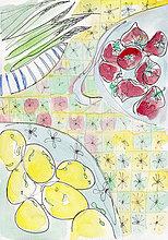Frische Zitronen, Tomaten und Spargel