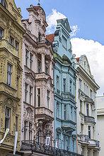 Tschechien, Pilsen, Fassaden alter Häuser im Renaissancestil