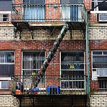 USA, New York State, New York City, Manhattan, Ansicht der Feuertreppe