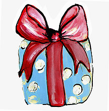 Weihnachtsgeschenk verpackt mit großer roter Schleife