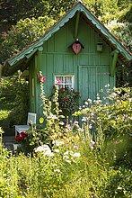 Garden shed and summer flower garden, Meersburg, Lake Constance, Baden-Württemberg, Germany, Europe
