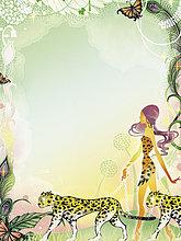 Glamouröse Frau geht mit Leoparden im Dschungel spazieren
