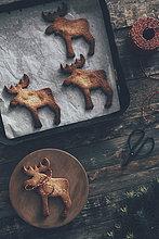 Elchförmige Weihnachtsplätzchen