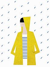 Mädchen trägt einen gelben Regenmantel mit Kapuze im Regen