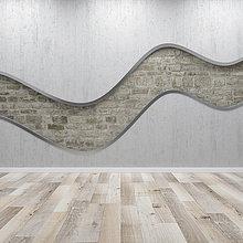 Betonwand mit Wellenstruktur, 3D-Putz