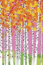 Abstraktes Muster von Birken mit Herbstlaub