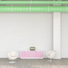 Zwei Sessel, Sideboard und Radio in einer Lounge, 3D Rendering