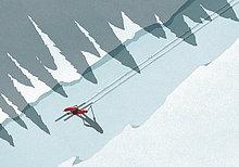Illustration des Skilaufs im Winter an sonnigen Tagen